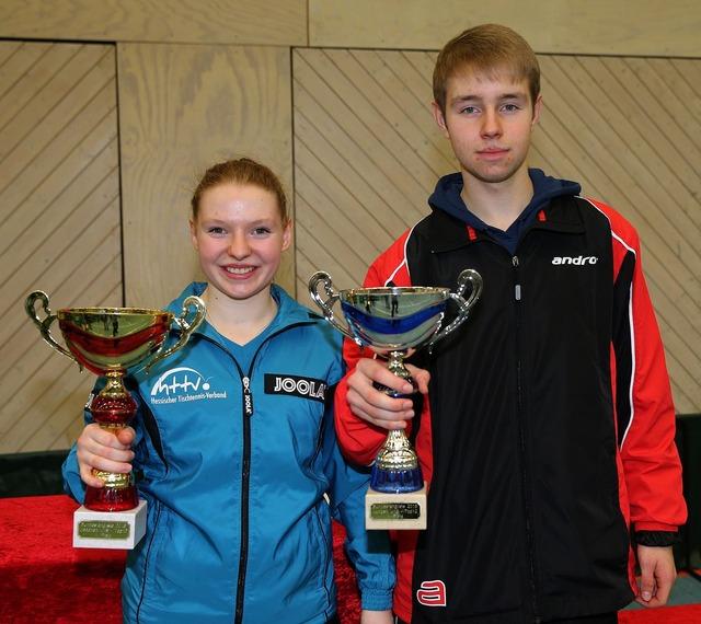 Sieger DTTB TOP-12 Anne Bundesmann (TSV 1909 Langstadt) und Gerrit Engemann (TTC GW Bad Hamm) Foto: Steinbrenner